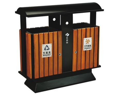 立式钢木分类垃圾桶 HC3222 钢木垃圾桶,分类垃圾桶,户外垃圾桶,木条垃圾桶,木条分类垃圾桶