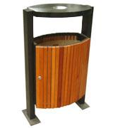 双投口带盖钢柱支架钢木垃圾桶 HC3066,双投口钢木垃圾桶,带盖钢木垃圾桶,钢柱支架钢木垃圾桶