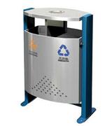 双侧投口烟灰盅支架式钢制垃圾桶 HC2229,双投口钢制垃圾桶,烟灰钢制垃圾桶,分类钢制垃圾桶