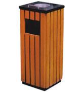 带盖顶部烟灰盅方形钢木垃圾桶 HC3032,带盖钢木垃圾桶,烟灰盅钢木垃圾桶,侧投口钢木垃圾桶