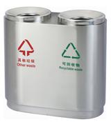 圆筒形不锈钢分类垃圾箱 HC1005,不锈钢垃圾桶,分类垃圾桶,不锈钢分类垃圾桶,钢木垃圾桶