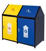 封闭式方形带盖钢制垃圾桶 HC2217,封闭式钢制垃圾桶,方形钢制垃圾桶,分类钢制垃圾桶