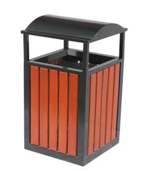 双侧投口方形烟灰盅钢木垃圾桶 HC3065,双侧投口钢木垃圾桶,烟灰盅钢木垃圾桶,放形钢木垃圾桶