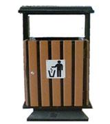 方形带盖单筒钢木垃圾桶木条果皮箱,方形钢木垃圾桶,顶投口钢木垃圾桶,钢木垃圾桶单桶