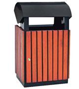 带盖圆弧顶坐地钢木垃圾桶 HC3045,带盖钢木垃圾桶,钢木垃圾桶厂家,环保钢木垃圾桶
