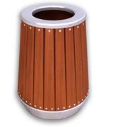 钢木圆柱形垃圾桶 上投口木条垃圾桶 HC3050,双侧投口垃圾桶,烟灰钢木垃圾桶,带盖钢木垃圾桶