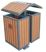 支架钢木分类垃圾桶 HC3203,分类垃圾桶,钢木分类垃圾桶,木条垃圾桶,户外垃圾桶