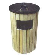 侧投口带盖圆形烟灰钢木垃圾桶 HC3055