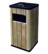 侧投口方形带盖烟灰缸钢木垃圾桶 HC3054,双侧投口钢木垃圾桶,圆形钢木垃圾桶,石米钢木垃圾桶