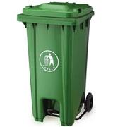 240L脚踏式带盖机械拉杆塑料垃圾桶单桶 HC4001,带盖塑料垃圾桶,机械拉杆塑料垃圾桶,塑料垃圾单桶