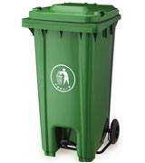 120L 脚踏塑料垃圾桶 HC4009,坐地塑料垃圾桶,方形塑料垃圾桶,塑料垃圾桶单桶,绿色中间脚踏塑料垃圾桶