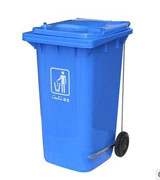 120L单边脚踏塑料桶 滚轮塑料垃圾桶 HC4010