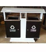 双投口钢制分类垃圾桶 HC2242,烟灰钢制垃圾桶,钢制分类垃圾桶,方形钢制垃圾垃圾桶
