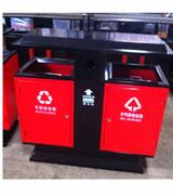 双投口坐地钢制分类垃圾桶 HC2236,带盖钢制垃圾桶,双投口钢制垃圾桶,钢制分类垃圾桶