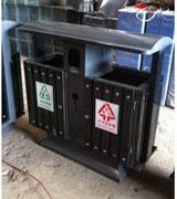 带盖双投口支架钢木垃圾桶 HC3058,带盖钢木垃圾桶,双投口钢木垃圾桶,钢木垃圾桶单桶
