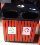 带烟缸钢木分类垃圾桶 HC3221,钢木垃圾桶,分类垃圾桶,烟灰缸垃圾桶,木条垃圾桶,木条分类垃圾桶