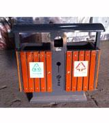 户外分类带盖钢木垃圾桶 HC3076,方形钢木垃圾桶,离地式钢木垃圾桶,带盖钢木垃圾桶