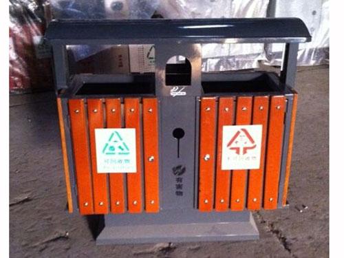 户外分类带盖钢木垃圾桶 hc3076 方形钢木垃圾桶,离地式钢木垃圾桶,带