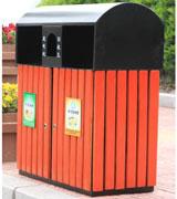 侧投口钢木垃圾桶 HC3064,侧投口钢木垃圾桶,六边形钢木垃圾桶,带盖钢木垃圾桶