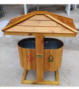 定制款防腐木户外钢木分类垃圾桶 HC3044,上投口钢木垃圾桶,自动复位垃圾桶,钢木垃圾桶单桶