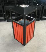 侧投口带烟灰缸 方形木条垃圾桶 钢木垃圾桶 HC3060