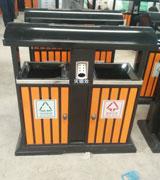 双侧投口带盖方形圆弧顶钢木垃圾桶 HC3268,双侧投口钢木垃圾桶,带盖钢木垃圾桶,方形钢木垃圾桶