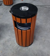 圆柱形带盖烟灰钢木垃圾桶 HC3017,圆形钢木垃圾桶,烟灰钢木垃圾桶,带盖钢木垃圾桶