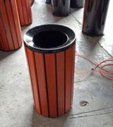 顶投口圆柱形钢木垃圾单桶 HC3011,顶投口钢木垃圾桶,圆柱形钢木垃圾桶,钢木垃圾桶单桶
