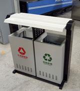 坐地式带盖冲桩孔钢制分类垃圾桶 HC2249,坐地式钢制垃圾桶,冲桩孔钢制垃圾桶,钢制分类垃圾桶