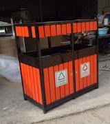 顶侧双头钢木分类垃圾桶 HC3208,钢木垃圾桶,分类垃圾桶,户外垃圾桶,木条垃圾桶,木条分类垃圾桶