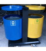 带盖顶投口圆形钢制垃圾桶 HC2210,带盖钢制垃圾桶,顶投口钢制垃圾桶,圆形钢制垃圾桶