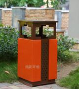 四投口桶身五角星冲孔钢制垃圾桶 HC2024,钢制垃圾桶,单筒垃圾桶,方形垃圾桶
