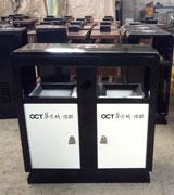 室外双侧投口方形钢制垃圾桶 HC2235,双侧投口钢制垃圾桶,方形钢制垃圾桶,烟灰钢制垃圾桶