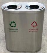 圆筒形商场不锈钢分类垃圾箱 HC1005,不锈钢垃圾桶,分类垃圾桶,不锈钢分类垃圾桶,钢木垃圾桶
