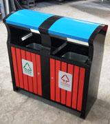 宽口加盖景区钢木分类垃圾桶 HC3233,钢木垃圾桶,分类垃圾桶,户外垃圾桶,木条垃圾桶,木条分类垃圾桶