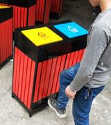 脚踏带盖钢木分类垃圾桶 HC3216,钢木垃圾桶,分类垃圾桶,户外垃圾桶,木条垃圾桶,木条分类垃圾桶