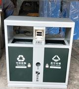 双侧四投口户外钢板分类垃圾桶,双侧投口钢制垃圾桶,烟灰盅钢制垃圾桶,钢制分类垃圾桶