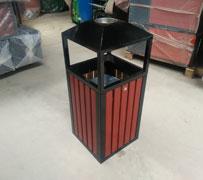 【环畅品牌】侧投口带烟灰缸 方形木条垃圾桶 钢木垃圾桶 HC3060
