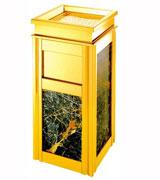 侧投方形大理石座地烟灰桶 HC5005,侧投口大理石垃圾桶,镀金大理石垃圾桶,座地烟灰桶,大理石垃圾桶