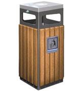带烟灰缸方形钢木垃圾桶 HC3002,钢木垃圾桶,带烟灰缸垃圾桶,带盖钢木垃圾单桶