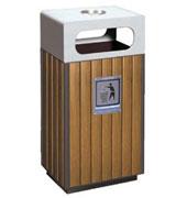 【环畅品牌】带盖烟灰钢木垃圾单桶 HC3003