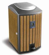 镀锌脚踏式钢木垃圾单桶 HC3006