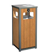 带烟灰缸四方投口钢木垃圾桶 HC3007