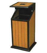 【环畅品牌】带盖烟灰大投口钢木垃圾桶 HC3009