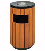 圆柱形侧投口钢木垃圾桶 HC3012