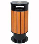 圆柱形烟灰钢木垃圾桶 HC3016,圆柱形钢木垃圾桶,双侧投口钢木垃圾桶,烟灰钢木垃圾桶