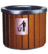 圆柱形上投口钢木垃圾桶 HC3022,上投口钢木垃圾桶,钢木垃圾桶单桶,室内钢木垃圾桶