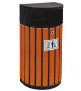 侧投口圆柱形钢木垃圾桶单桶 HC3024,侧投口钢木垃圾桶,钢木垃圾桶单桶,圆柱形钢木垃圾桶