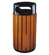 双侧投口圆柱形钢木垃圾桶单桶 HC3025,双侧投口垃圾桶,圆柱形钢木垃圾桶,钢木垃圾桶单桶