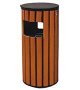 双侧投口防腐木条钢木垃圾桶单桶 HC3027,双侧投口垃圾桶,圆柱形钢木垃圾桶,钢木垃圾桶单桶